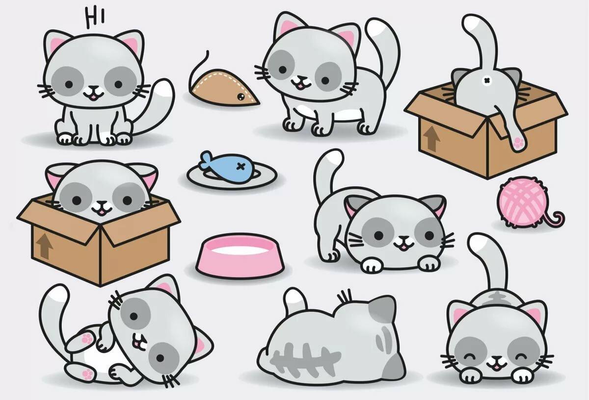Милые картинки для срисовки для наклеек котики