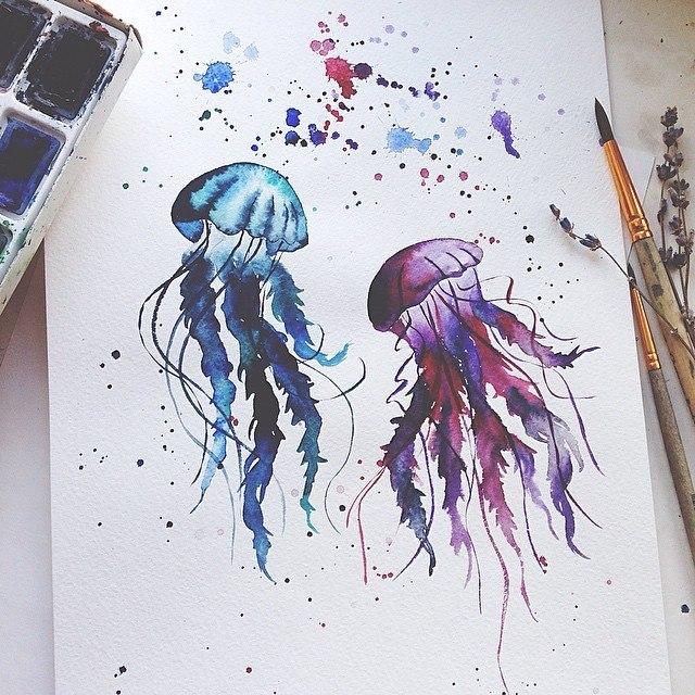 Картинки акварелью легкие для срисовки