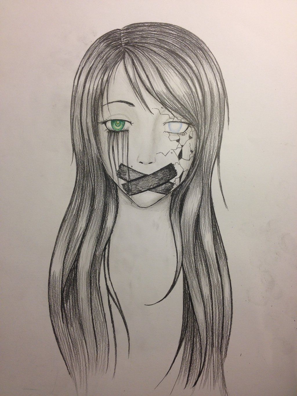 Картинки для срисовки карандашом грустных девочек