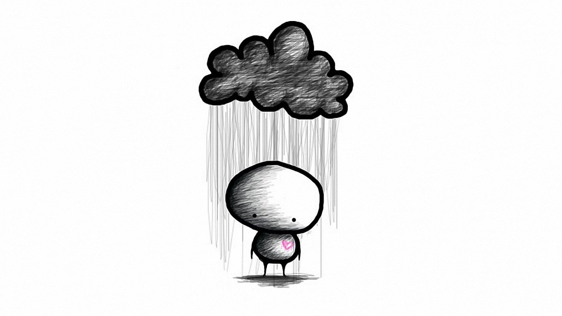 Черно белые картинки грустные для срисовки