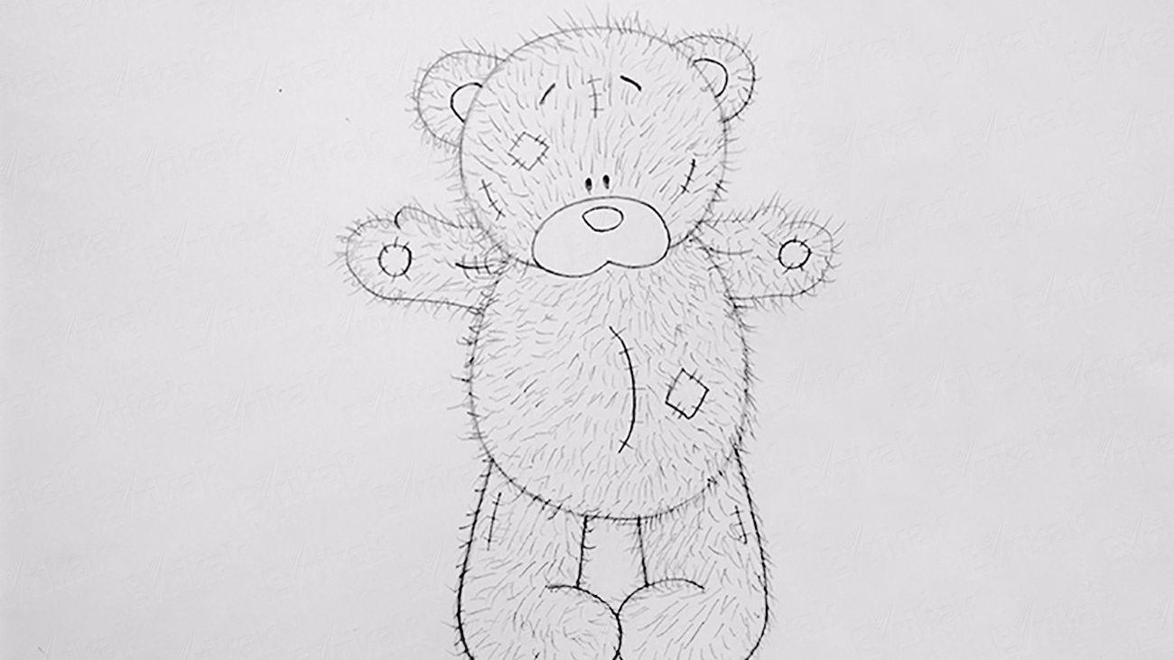 Картинки мишка с подарком для срисовки