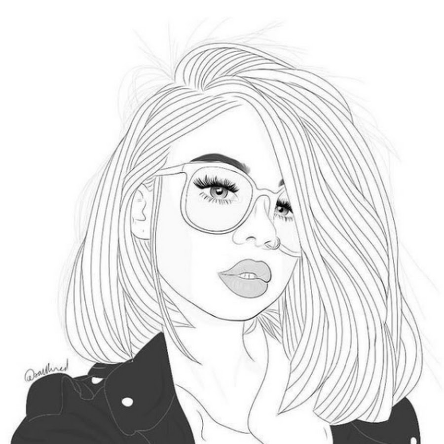 Картинки девушки в очках для срисовки