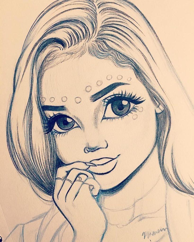 Срисовать рисунки карандашом девушки