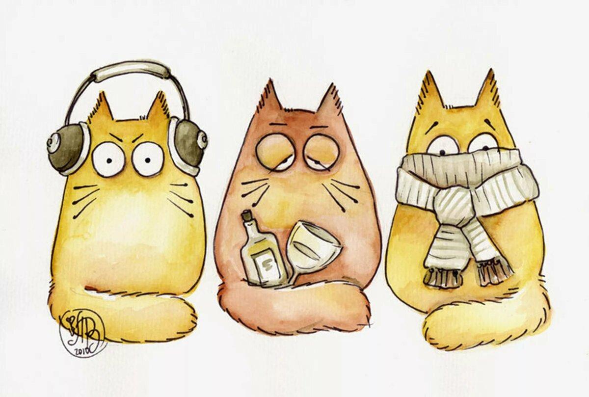 Рисунки котов смешные для срисовки, поздравлением