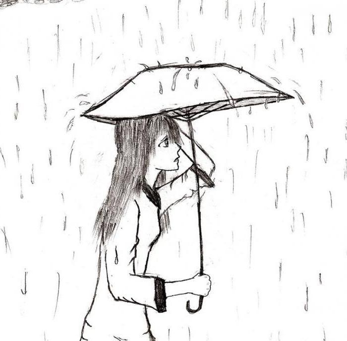 рисунок осень дождь карандашом помните, большая