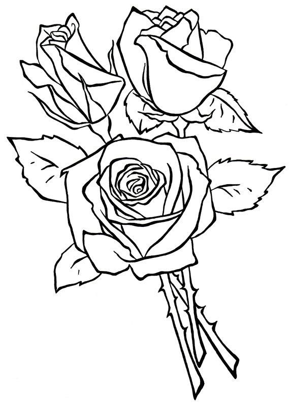 рисунки с букетами роз