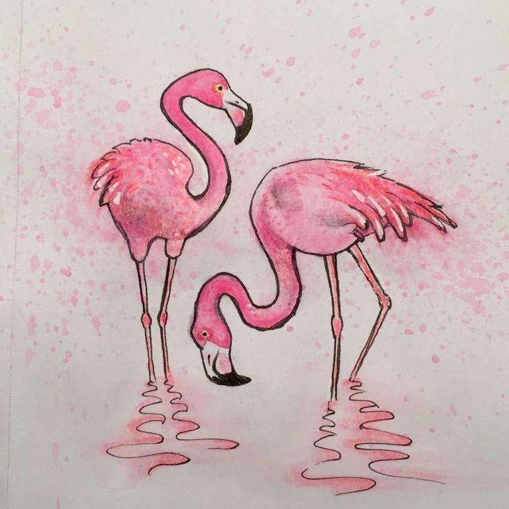 Розовый фламинго рисунок карандашом