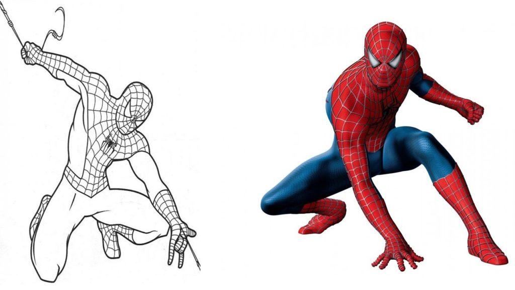 Человек паук - рисунки карандашом для срисовки